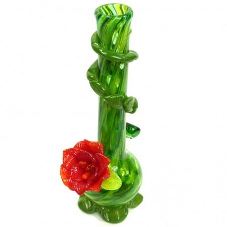 Medium w. Flower Softglas Bong (Grün) Noble Glass