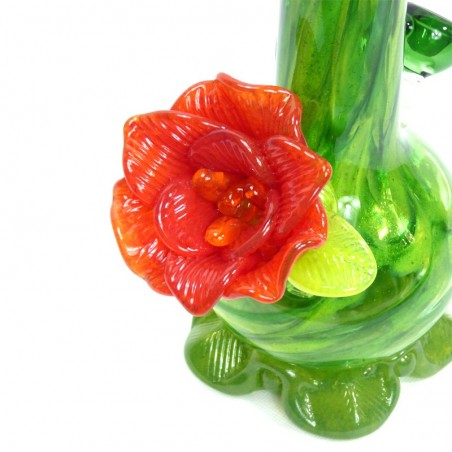 Medium w. Flower Softglas Bong (Grün) Noble Glass