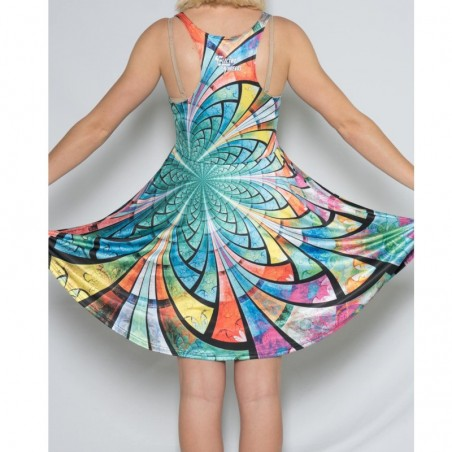Optical Stained Glass Flowy Racerback Dress