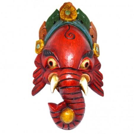Ganesh Handgeschnitzte Holzmaske Rot