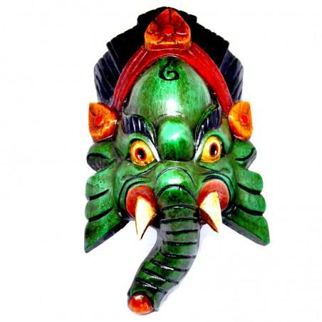 Ganesh Handgeschnitzte Holzmaske Grün