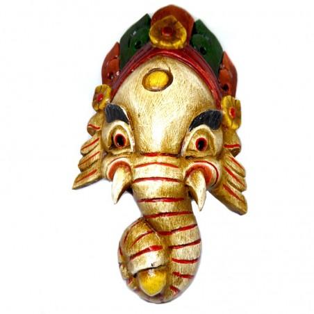 Ganesh Handgeschnitzte Holzmaske Weiß