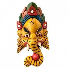 Ganesh Holzmaske Gelb