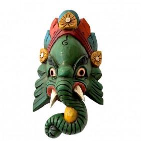 Ganesh Holzmaske Grün