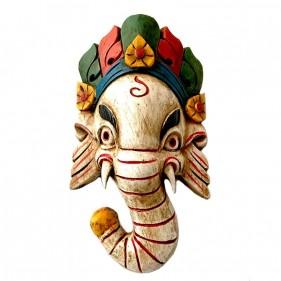 Ganesh Holzmaske Weiß