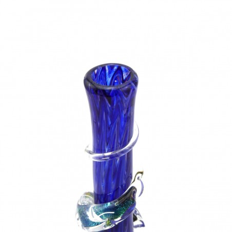 Medium w. Dichro Wrap Softglas Bong Blau Noble Glass