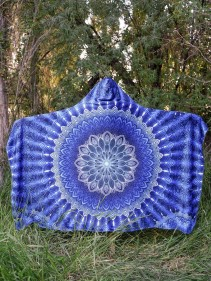 Aqua Mandala Hooded Decke