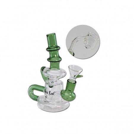 'Black Leaf' Recycler Glasbong für Öl & Kräuter (Grün)