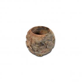Steinkopf mit Standard Gewinde für Metallchillums geschnitzt von Black Leaf Seitenansicht