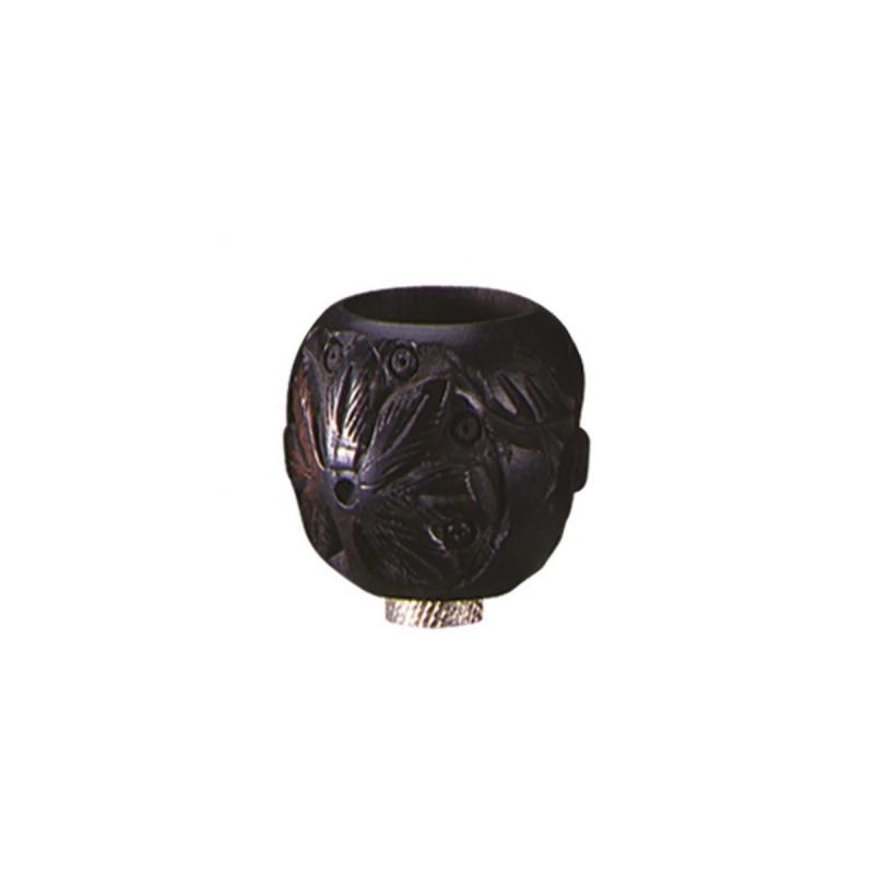 Ebenholzkopf für Metallchillums / Pfeifen geschnitzt von Black Leaf Seitenansicht