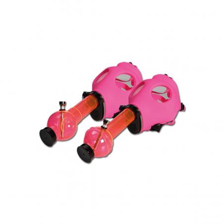 Gasmaske pink mit Bong
