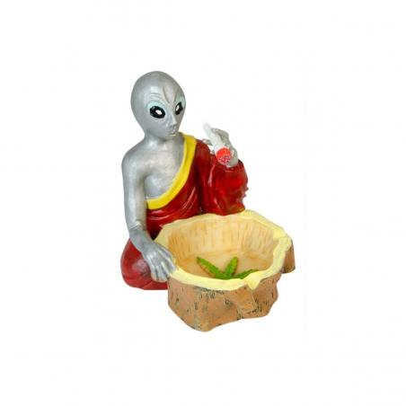 """Aschenbecher """"Alien Buddha mit Joint & Korb"""""""
