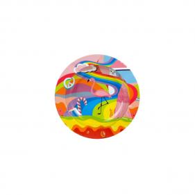 Runder Aschenbecher aus Metall Flamingo Motiv Vorderansicht