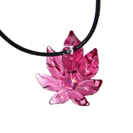 Anhänger Hanfblatt Opal - Pink