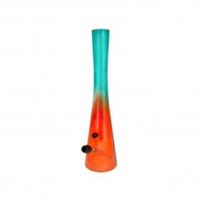 Orange Glasbong in konischer Form mit Schlauch Seitenansicht
