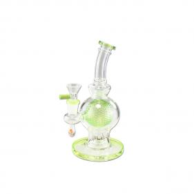 Grüne Glasbong mit Glaskugel innen und Deko-Pilz von BLAZE GLASS Seitenansicht